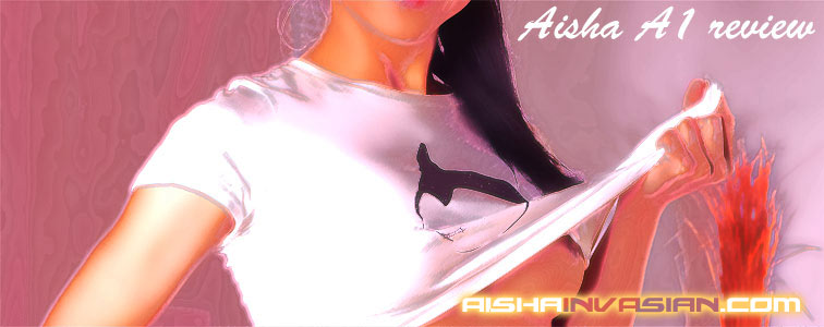 Aisha reveals her bare body as she lifts her tight white t-shirt up to one corner.
